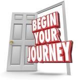 Cominci il vostro inizio della porta aperta di parole di viaggio 3d ora che si muove royalty illustrazione gratis