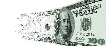 Coming asunder USA one hundred dollar note Stock Photography