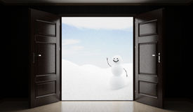 The coming Christmas and New Year. 3d illustration of a room with the doors open for them the coming Christmas and New Year in the form of snow, snowdrifts and Royalty Free Stock Images