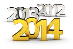 2014 is coming. Chrome digits 2012, 2013 and golden 2014 on the white background Royalty Free Stock Photography