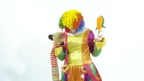 Coming circus clown playing with puppet amusingly stock footage