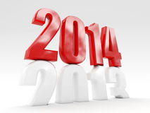 2014 is coming. 3d 2014 cube new year day Stock Image