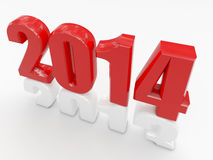 2014 is coming. 3d image of red 2014 Stock Images