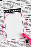 Coming Events. Fake Classified Ad, newspaper, Coming Events concept Stock Photo