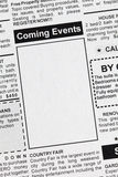 Coming Events. Fake Classified Ad, newspaper, Coming Events concept royalty free stock images