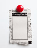 Coming Events. Fake Classified Ad, newspaper, Coming Events concept Stock Images