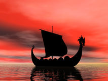 Coming Home. Viking ship at sundown Royalty Free Stock Photo