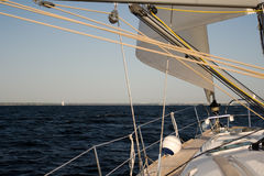 Coming home. Yacht sailing home after long trip Stock Photo