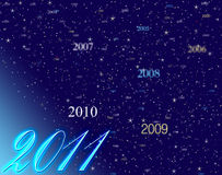 Coming new year 2011. Space view of incoming new year stock illustration