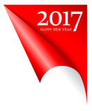 2017 coming new year page corner. 2017 coming new year red peeled page corner Stock Photo
