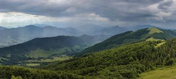 Coming rain. Spell of rainy weather is approaching in Ukrainian Carpathians Stock Images