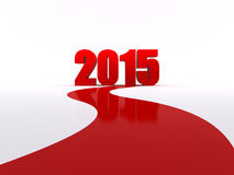 2015 is coming. Red carpet to 2015. 3d rendered işşustration Stock Images