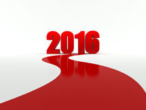 2016 is coming. Red carpet to 2016 on white background Stock Image