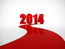 2014 is coming. Red road going to 2014 text on white background Royalty Free Stock Photos