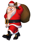 Coming Santa Claus. 3d rendering of Santa Claus with bag as illustration Royalty Free Stock Photo