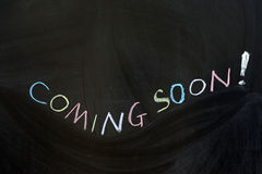 Coming soon. Conceptional chalk drawing - Coming soon Stock Images
