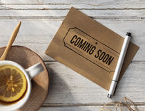 Coming Soon Advertise Alert Announcement Concept. Coming Soon Advertise Alert Announcement Stock Photo