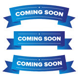 Coming Soon blue ribbon Royalty Free Stock Images
