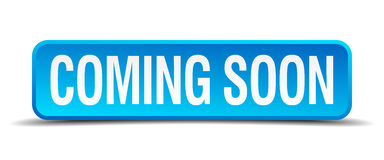 Coming soon blue square  button Stock Photos