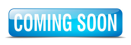 Coming soon blue square 3d realistic isolated button Royalty Free Stock Photo