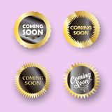 Coming soon button sign stamp set Royalty Free Stock Images