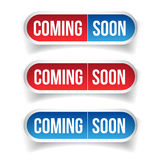 Coming Soon button sign. Vector Royalty Free Stock Photos