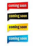Coming soon button. Coming soon speech bubble / web button collection isolated on white Royalty Free Stock Images