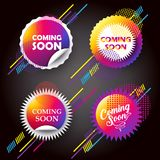 Coming soon buttons dynamic concept. Coming soon - labels set, unique stamp multicolored symbols, hipster colorful modern frames, icons, stickers, elements Stock Photo
