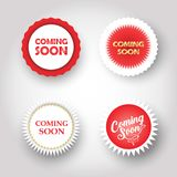 Coming soon buttons under construction sign set royalty free illustration