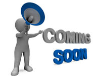 Coming Soon Character Shows New Arrivals. Coming Soon Character Showing New Arrivals Or Promotional Product Stock Image