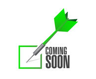 Coming soon check dart sign concept Stock Photo