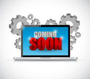 coming soon computer sign illustration Stock Photos