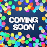 Coming Soon with confetti. Vector Royalty Free Stock Photo