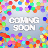 Coming Soon with confetti. Vector Stock Image