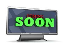 Coming soon 3D lettering on a TV Stock Image
