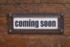 Coming soon - file cabinet label Royalty Free Stock Photos