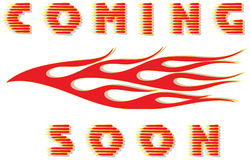 Coming soon and flame Royalty Free Stock Photos