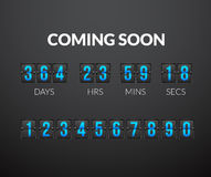 Coming Soon, flip countdown timer panel Stock Image