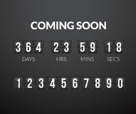 Coming Soon, flip countdown timer panel. Wiht scoreboard number, vector illustration isolated on black background Royalty Free Stock Images
