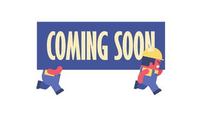 Coming soon. Funny cartoon workers running and carrying big banner. Looped 2d animation stock video footage