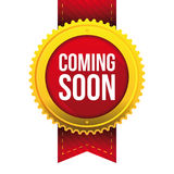 Coming Soon gold button Stock Photography