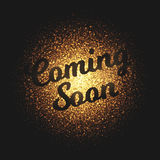 Coming Soon Golden Glowing Particles Vector Background. Coming soon bright golden shimmer glowing round particles vector background. Scatter shine tinsel light Stock Photos