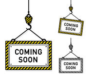 Coming soon hanging signs Stock Images