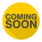 Coming Soon icon with long shadow Royalty Free Stock Image