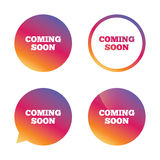 Coming soon icon. Promotion announcement symbol. Stock Image