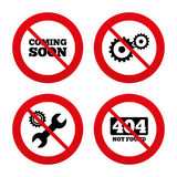 Coming soon icon. Repair service tool and gear Stock Photos