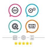 Coming soon icon. Repair service tool and gear. Coming soon rotate arrow icon. Repair service tool and gear symbols. Wrench sign. 404 Not found. Calendar Royalty Free Stock Images