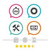 Coming soon icon. Repair service tool and gear. Coming soon icon. Repair service tool and gear symbols. Hammer with wrench signs. 404 Not found. Calendar Royalty Free Stock Image