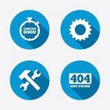 Coming soon icon. Repair service tool and gear Stock Photography