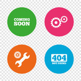 Coming soon icon. Repair service tool and gear. Stock Photos